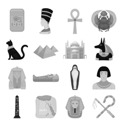 Ancient Egypt set icons in monochrome style Big vector image