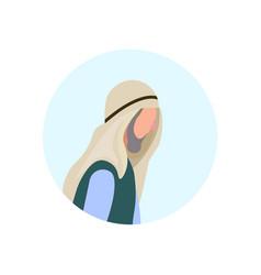 Arab old man profile avatar elderly grandfather vector