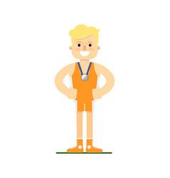 Athlete man winning silver medal vector