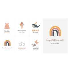 Baby children little kids cards posters in vector