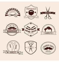 Barbershop Badges Set in Vintage Style vector