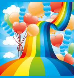 Beautiful rainbow and balloons vector