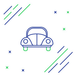 Blue and green line car volkswagen beetle icon vector