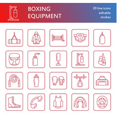 boxing line icons punchbag boxer gloves vector image