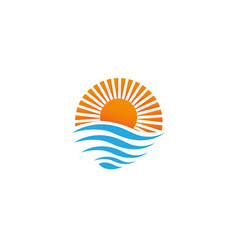 Bright sun on sea waves for logo design vector