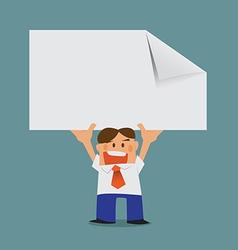 business man lifting advertising vector image