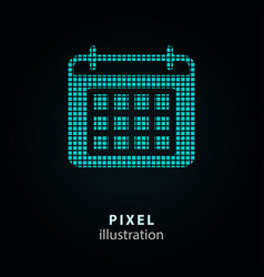 calendar day - pixel icon on vector image