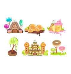 Candy land set sweet fantasy landscape elements vector