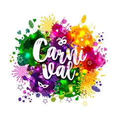 carnival mardi gras on multicolors vector image