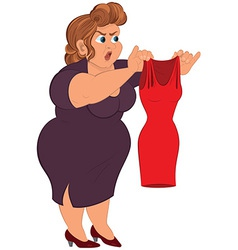 Cartoon fat woman in purple dress holding small vector