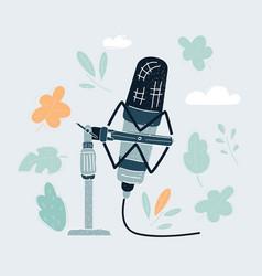 cartoon vintage microphone on vector image