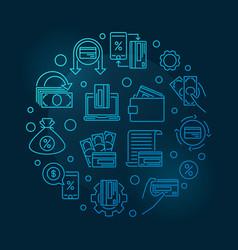cashback round blue outline concept vector image