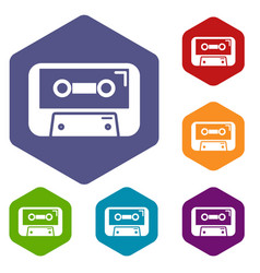 cassete tape icons hexahedron vector image