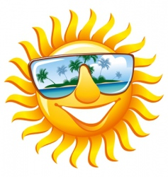 Cheerful sun in sunglasses vector