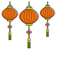 chinese lantens hanging decoration celebration vector image