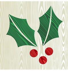 Christmas wooden mistletoe silhouette vector image