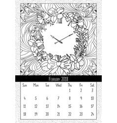 Christmas wreath clock coloring book page vector