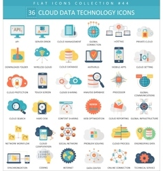 Cloud data technology color flat icon set vector