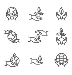 Collection ecological symbols and signs vector