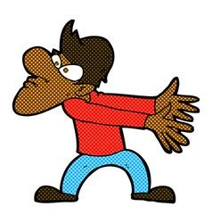 Comic cartoon annoyed man gesturing vector