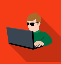 computer hacker icon in flat style isolated on vector image