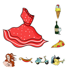 Country italy cartoon icons in set collection for vector