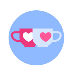 couple of cups with heart icon on blue round vector image