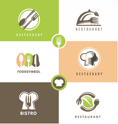 Creative design set for healthy food restaurant vector