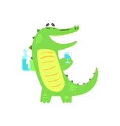 Crocodile WIth Bottle And Glass Having A Drink vector