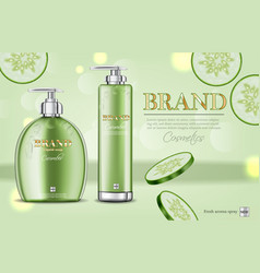cucumber soap and shampoo realistic vector image
