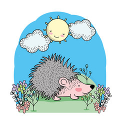 cute porcupine with happy sun and clouds vector image