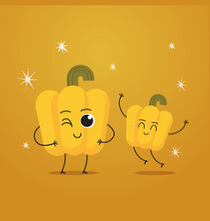 cute yellow pepper characters funny cartoon mascot vector image