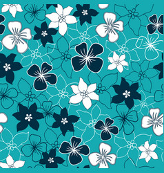 dark blue and white flower mix seamless pattern vector image