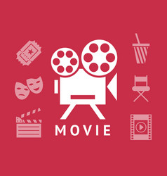 digital red white cinema vector image