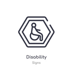 Disability outline icon isolated line from signs vector