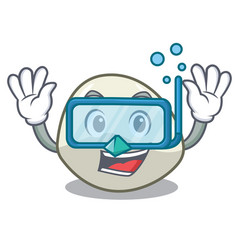 Diving character cartoon fresh mozzarella cheese vector