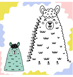 Dot to game for kids with cute llama vector