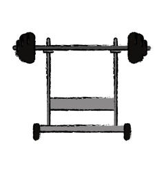Drawing weight barbell equipment fitness gym vector