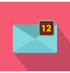 Envelope with twelve messages icon flat style vector
