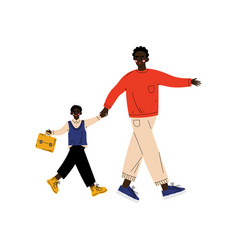 Father leading his son student to school cute boy vector