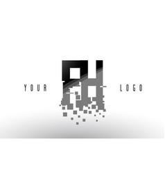 fh f h pixel letter logo with digital shattered vector image