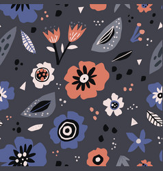 floral flat seamless pattern in scandinavian vector image
