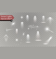 Glow isolated white transparent light effect set vector