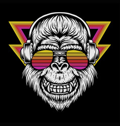 gorillagorilla headphone retro vector image
