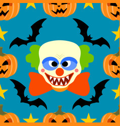 Halloween background seamless with clown vector