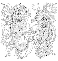 Hand drawn doodle outline seahorse vector image