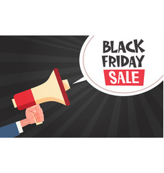 hand hold megaphone with black friday sale message vector image