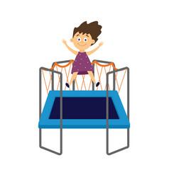 happy child jumping on trampoline flat cartoon vector image