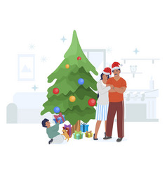 happy family celebrating christmas with gifts vector image
