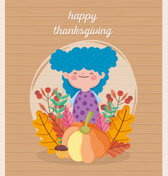 Happy thanksgiving day cute girl blue hair with vector